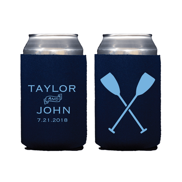 Nautical Oar Personalized Wedding Beer Can Cooler