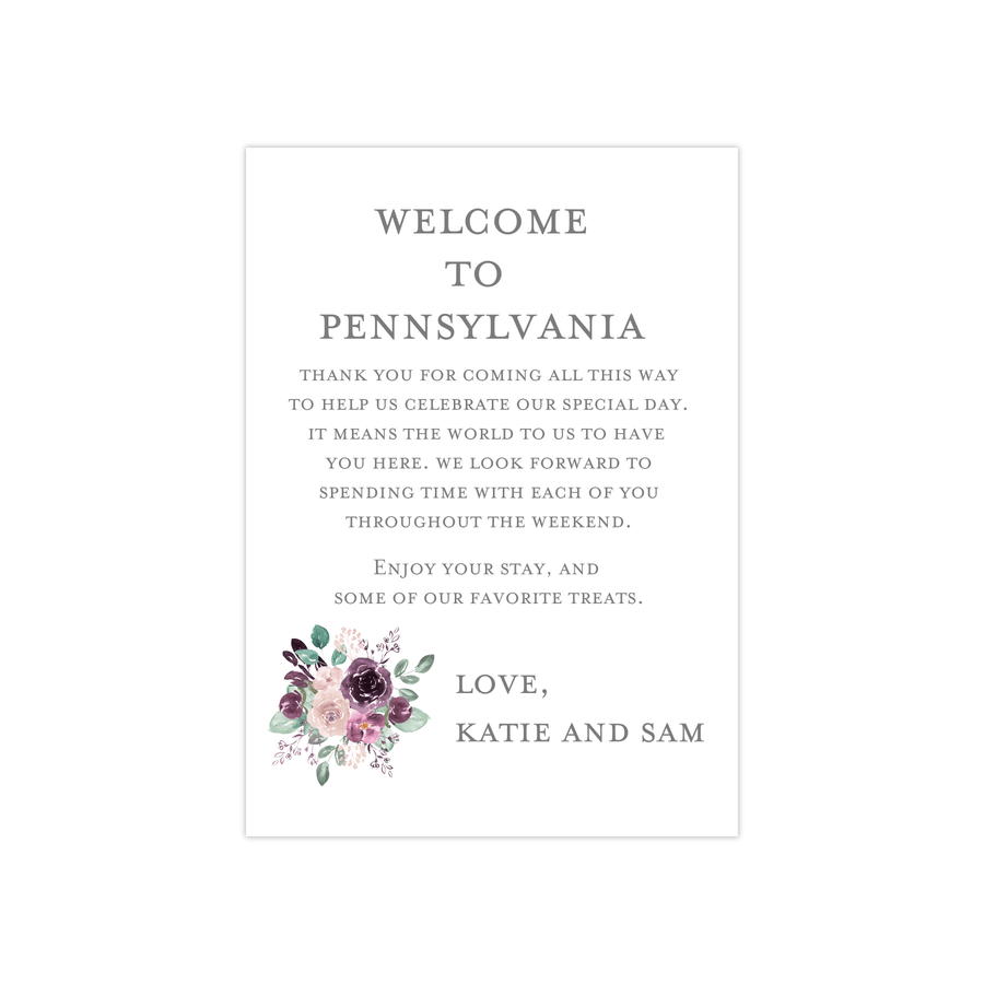 Welcome Card - Welcome Note | The Emily Wedding Collection