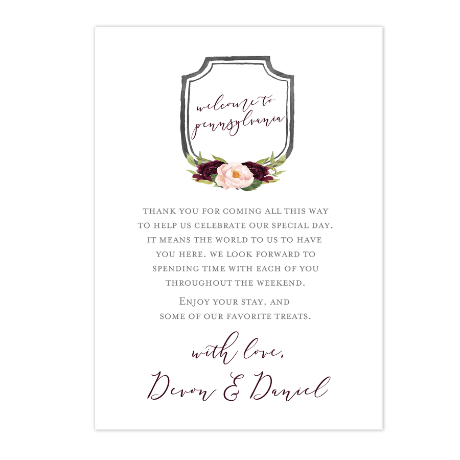 Welcome Card - Welcome Note | The Devon Wedding Collection