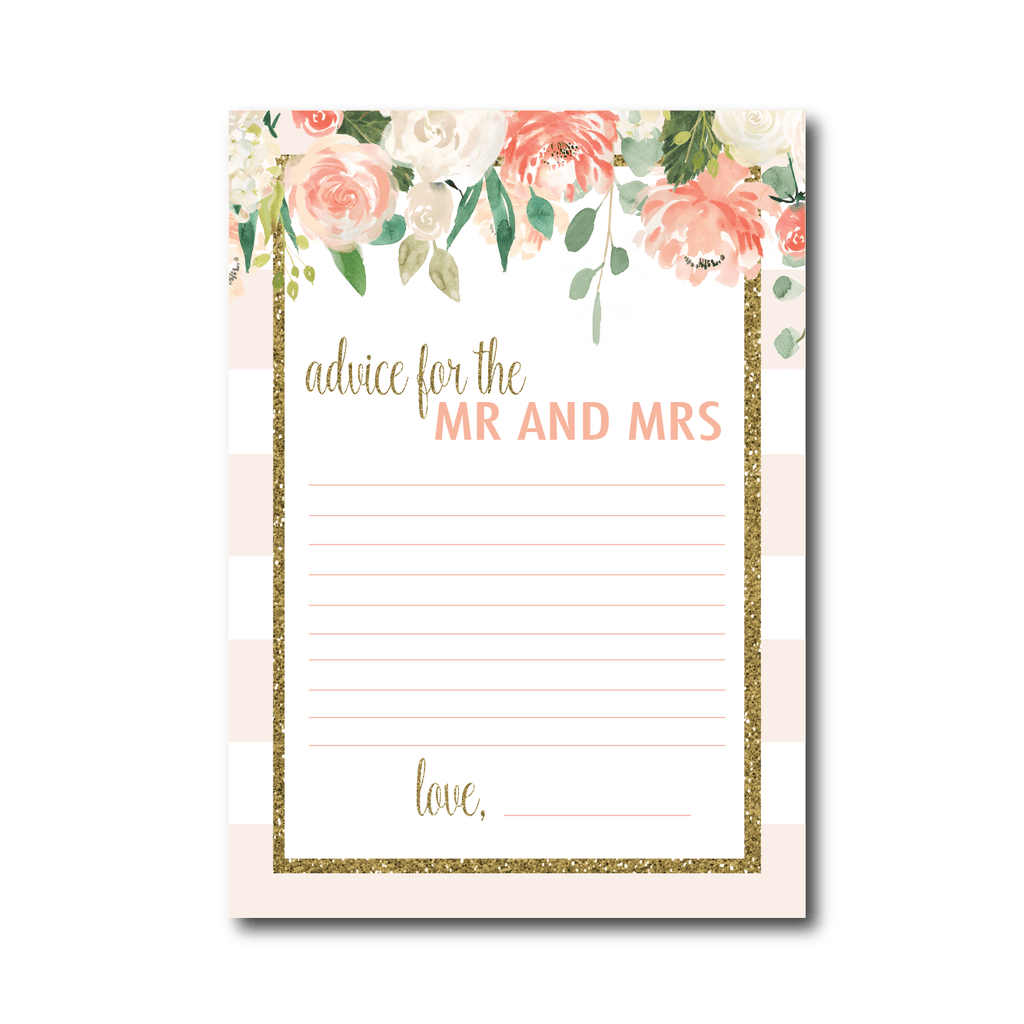 Cream Floral Advice for the Mr and Mrs Cards