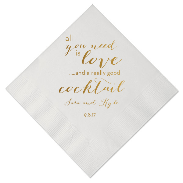 All You Need is Love and a Cocktail Personalized Wedding Napkins