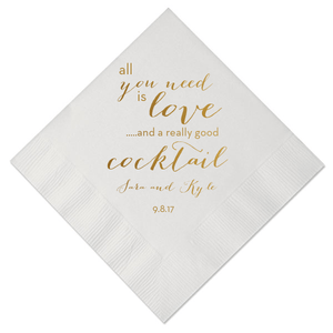 Personalized Wedding Napkin - All You Need Is Love And A Cocktail Personalized Wedding Napkins