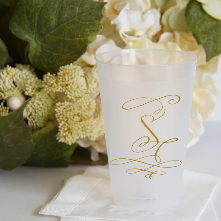 Monogrammed Wedding Frosted Plastic Cups Pink Poppy Weddings