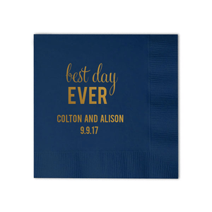Personalized Wedding Napkin - Best Day Ever Personalized Wedding Napkins