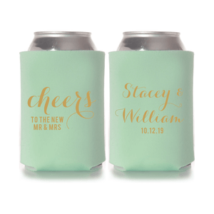 Cheers to the New Mr and Mrs Personalized Wedding Beer Can Cooler