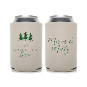 The Adventure Begins Personalized Wedding Beer Can Cooler
