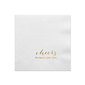 Personalized Wedding Napkin - Cheers Custom Wedding Napkins