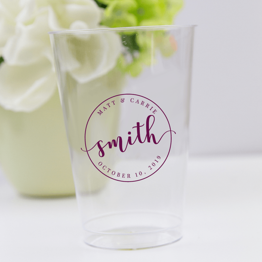 Circle Monogram Wedding Clear Plastic Cups