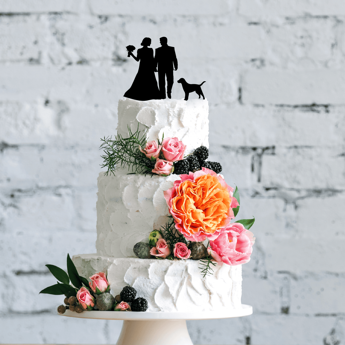 Wedding Couple Silhouette With Dog Cake Topper