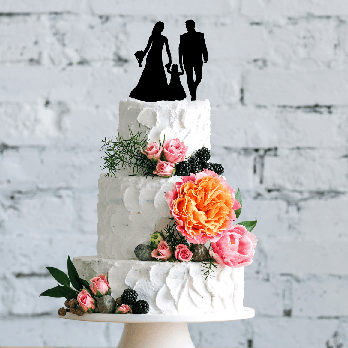 Wedding Couple With Child Cake Topper
