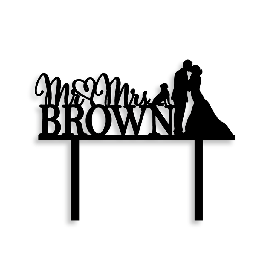 Personalized Wedding Couple Silhouette With Dog Cake Topper