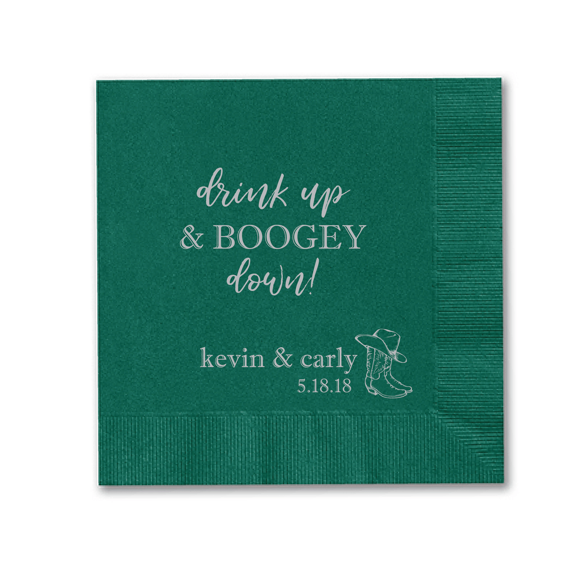 Personalized Wedding Napkin - Drink Up And Boogy Down Wedding Napkins