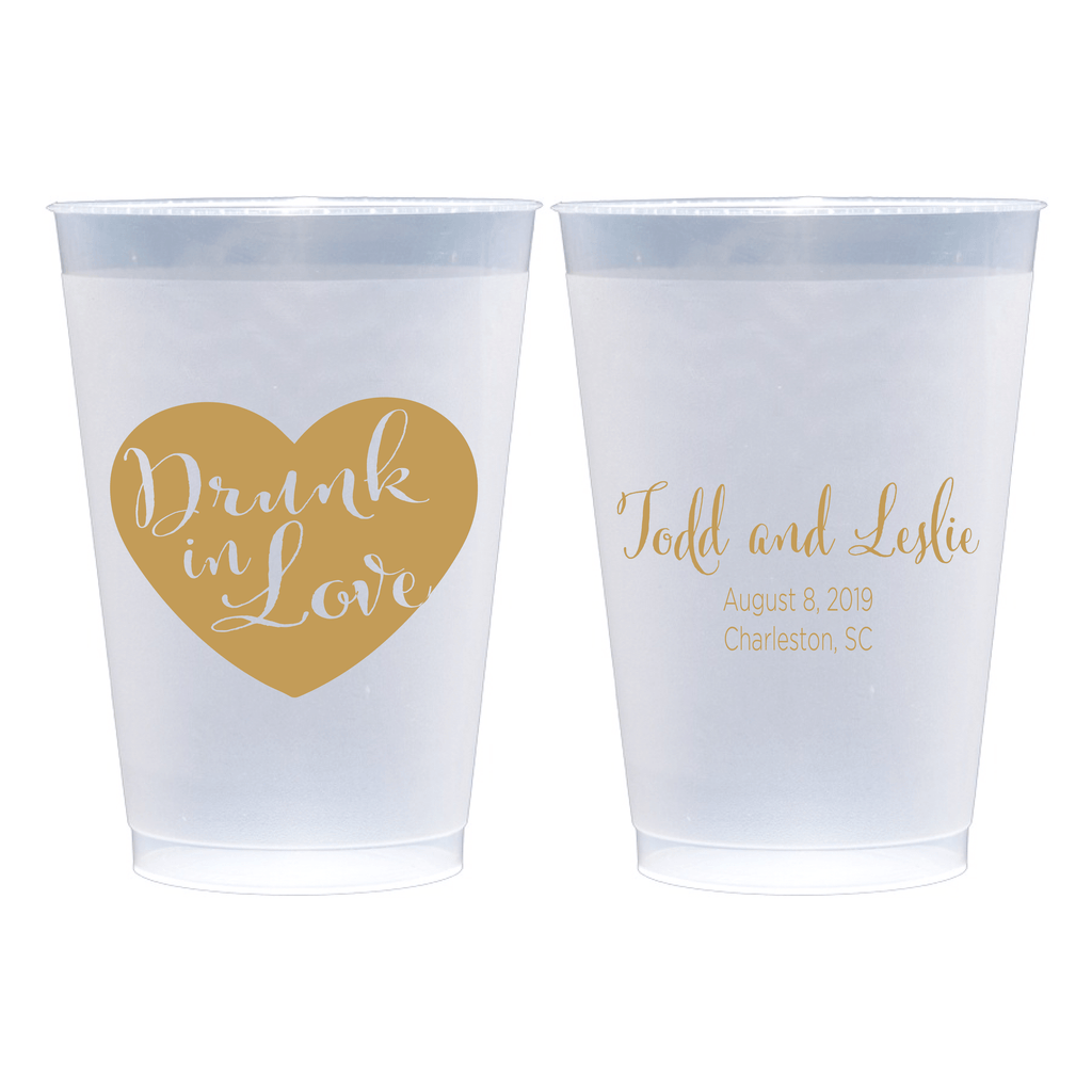 Drunk in Love Personalized Wedding Frosted Plastic Cups