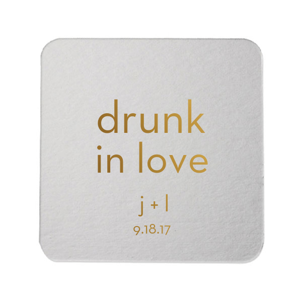 Drunk in Love Personalized Wedding Coaster