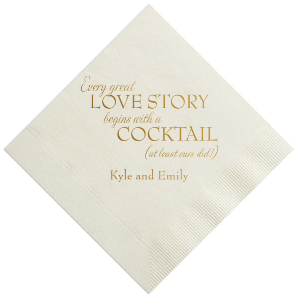 Every Great Love Story Personalized Wedding Napkins