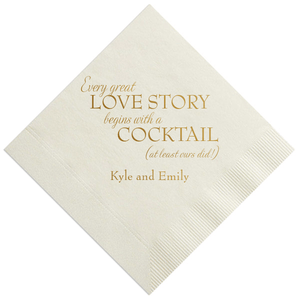 Personalized Wedding Napkin - Every Great Love Story Personalized Wedding Napkins