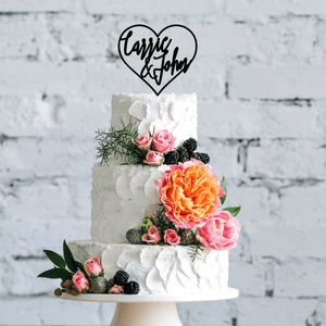 Personalized Heart Wedding Cake Topper
