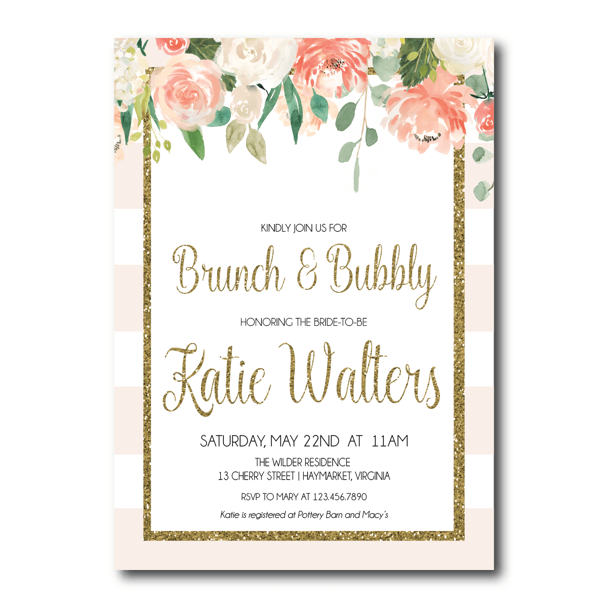 Bridal Shower Invitation | Brunch and Bubbly - Pink Poppy Weddings