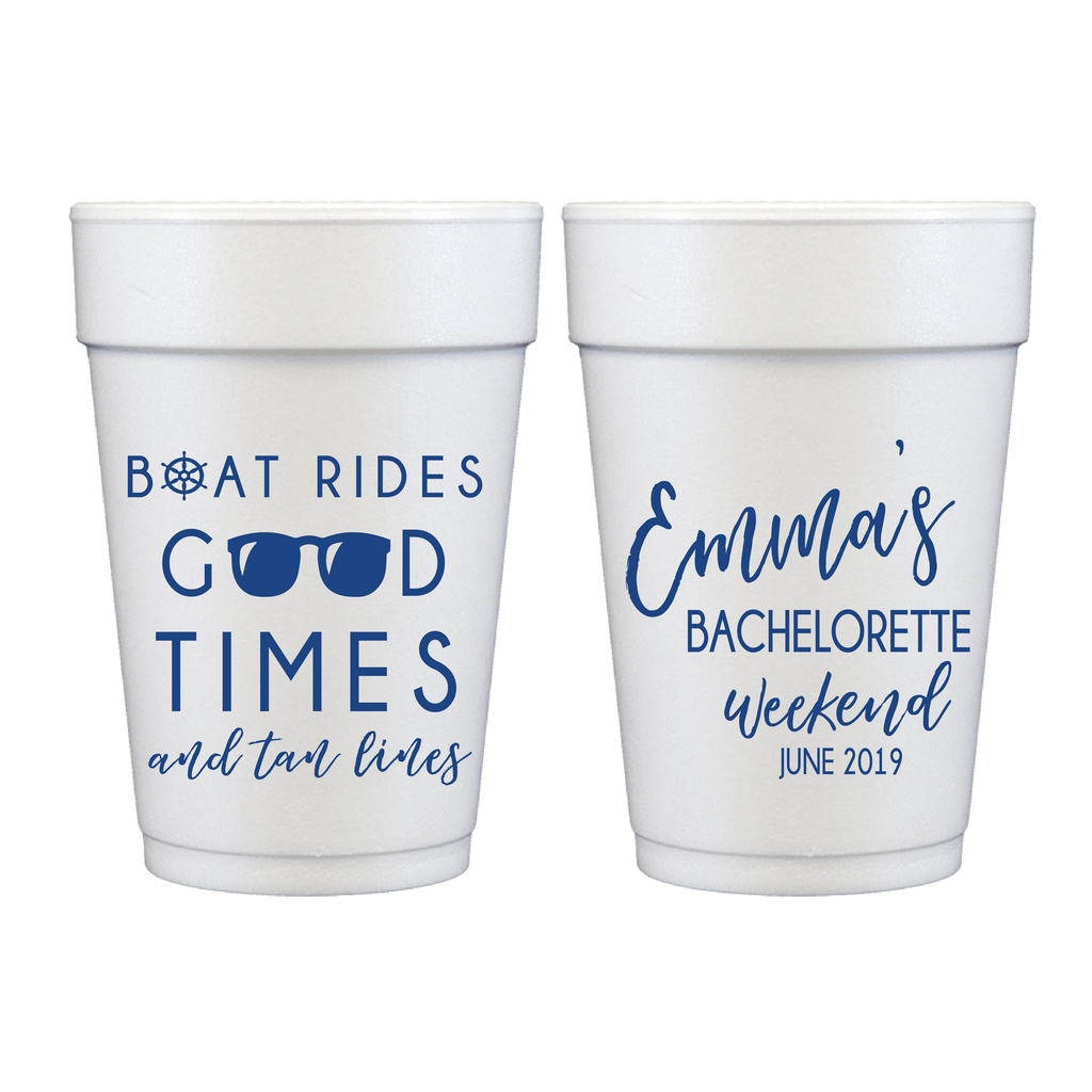Personalized Bridal Shower Cup - Boat Rides Good Times Bachelorette Foam Cups