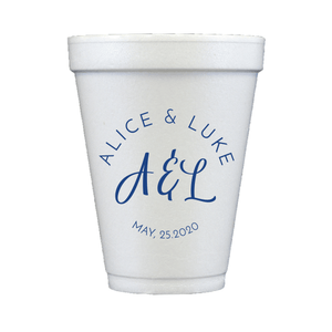 Personalized Wedding Cup - Brushed Monogram Wedding Foam Cups