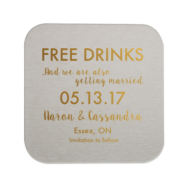 Free Drinks and Save the Date Wedding Coaster