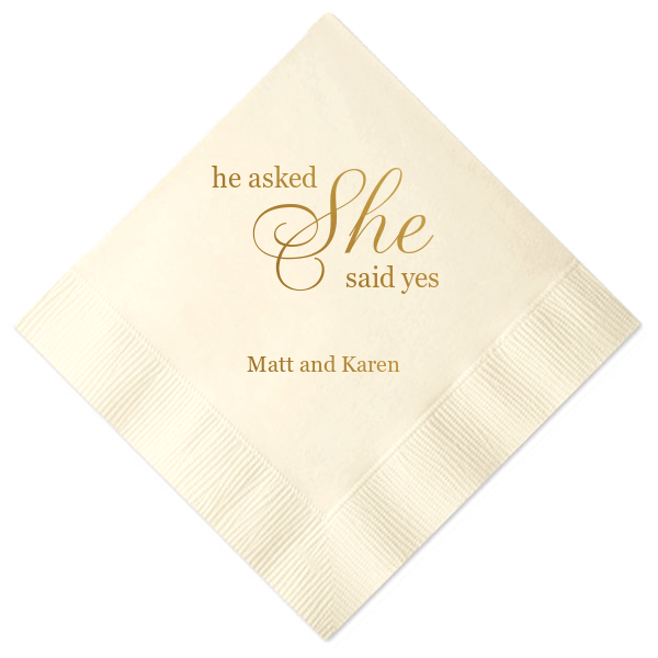 He Asked, She Said Yes Personalized Bridal Shower Napkins