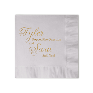Personalized Bridal Shower Napkin - He Popped The Question Personalized Bridal Shower Napkins