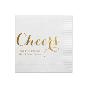 Personalized Bridal Shower Napkin - Cheers To The Future Mr And Mrs Personalized Bridal Shower Napkins