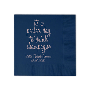 Personalized Bridal Shower Napkin - Perfect Day To Drink Champagne Napkins