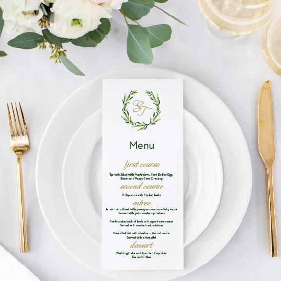 Menu Card - Menu Card | The Piper Wedding Collection