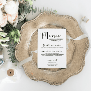 Menu Card - Menu Card | The Carrie Wedding Collection