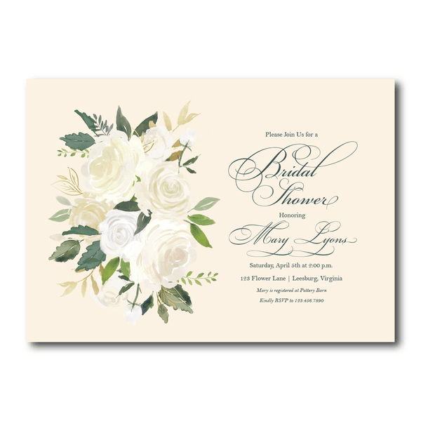 Bridal Shower Invitation | Cream Roses
