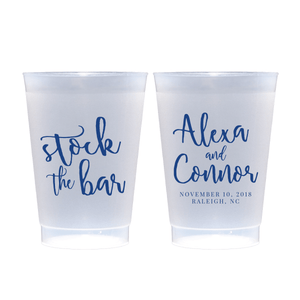 Personalized Bridal Shower Cup - Stock The Bar Frosted Plastic Cups
