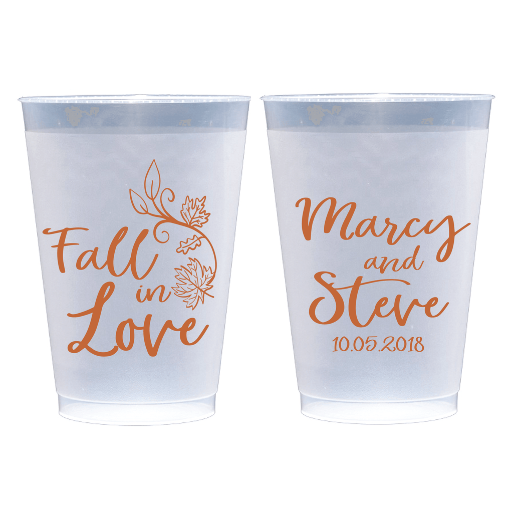 Fall in Love Personalized Wedding Frosted Plastic Cups