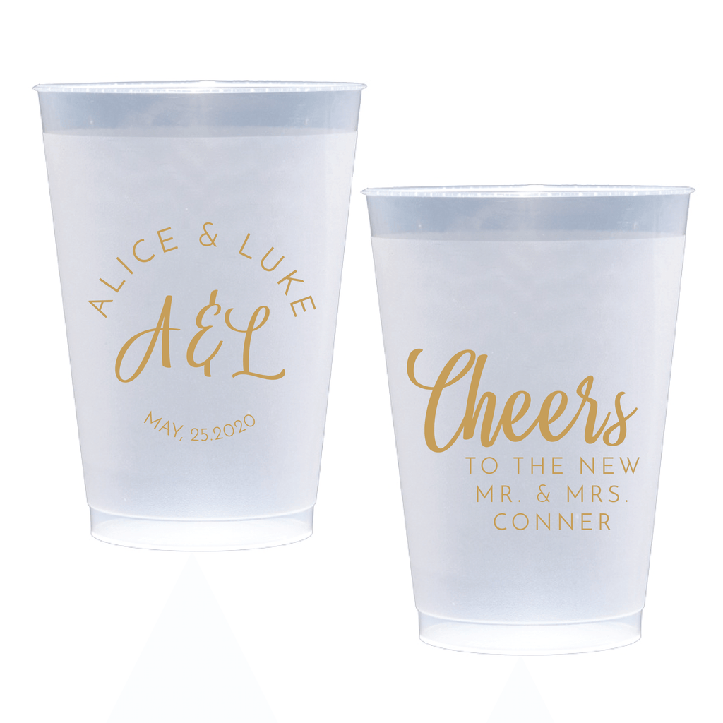 Personalized Wedding Cup - Brushed Monogram Personalized Wedding Frosted Plastic Cups