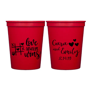 Love Always Wins Personalized Stadium Cups