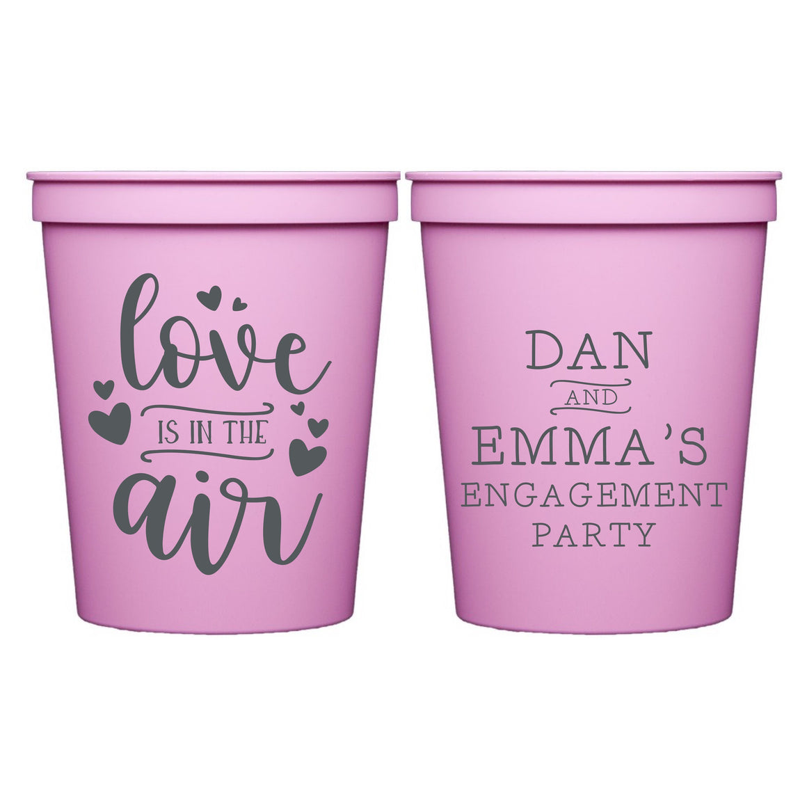 Love is in the Air Personalized Stadium Cups