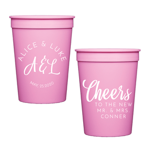 Stadium Cups - Brushed Monogram Personalized Wedding Stadium Cups