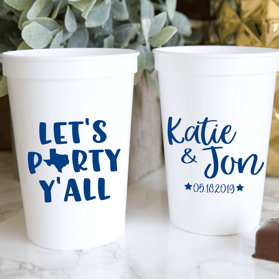 Stadium Cups - Let's Party Y'all Personalized Wedding Stadium Cups