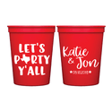 Let's Party Y'all Personalized Wedding Stadium Cups