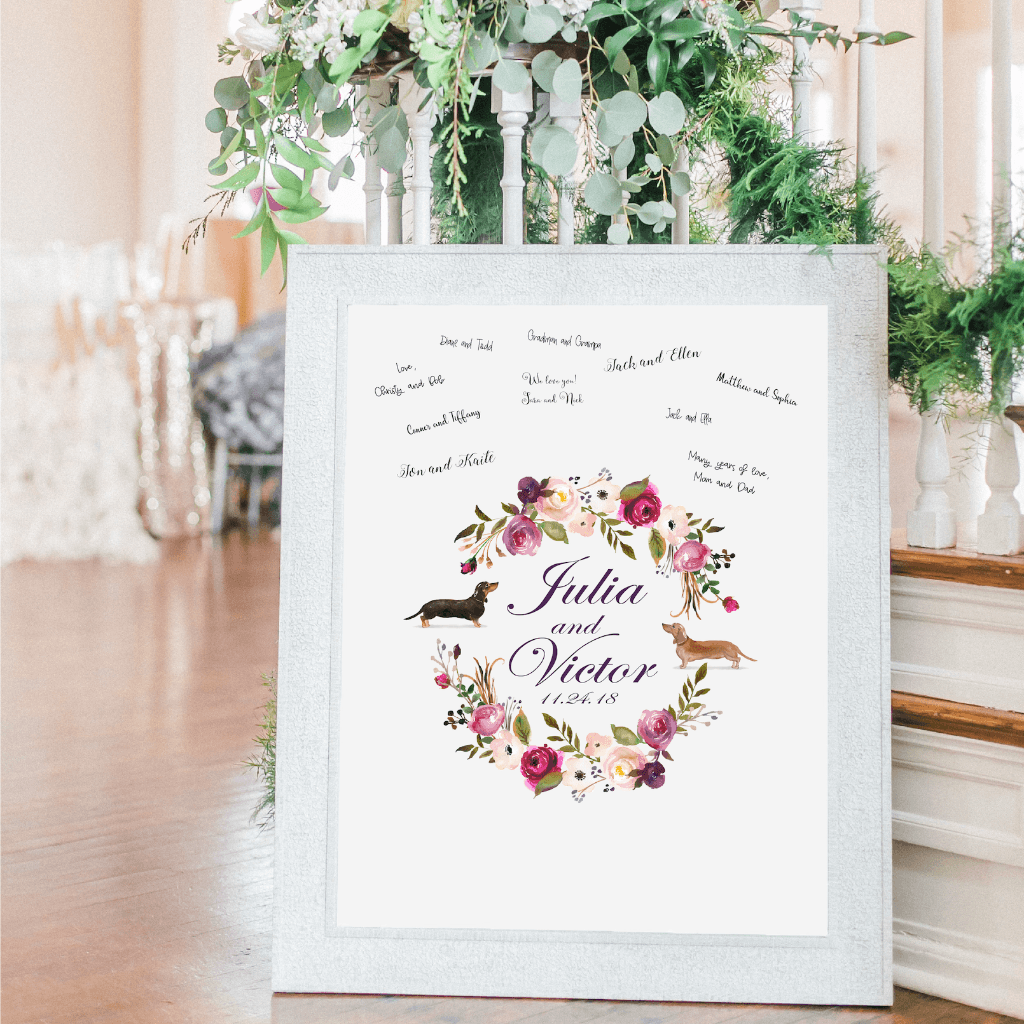 Welcome Prints - Floral Personalized Dog Guestbook Print