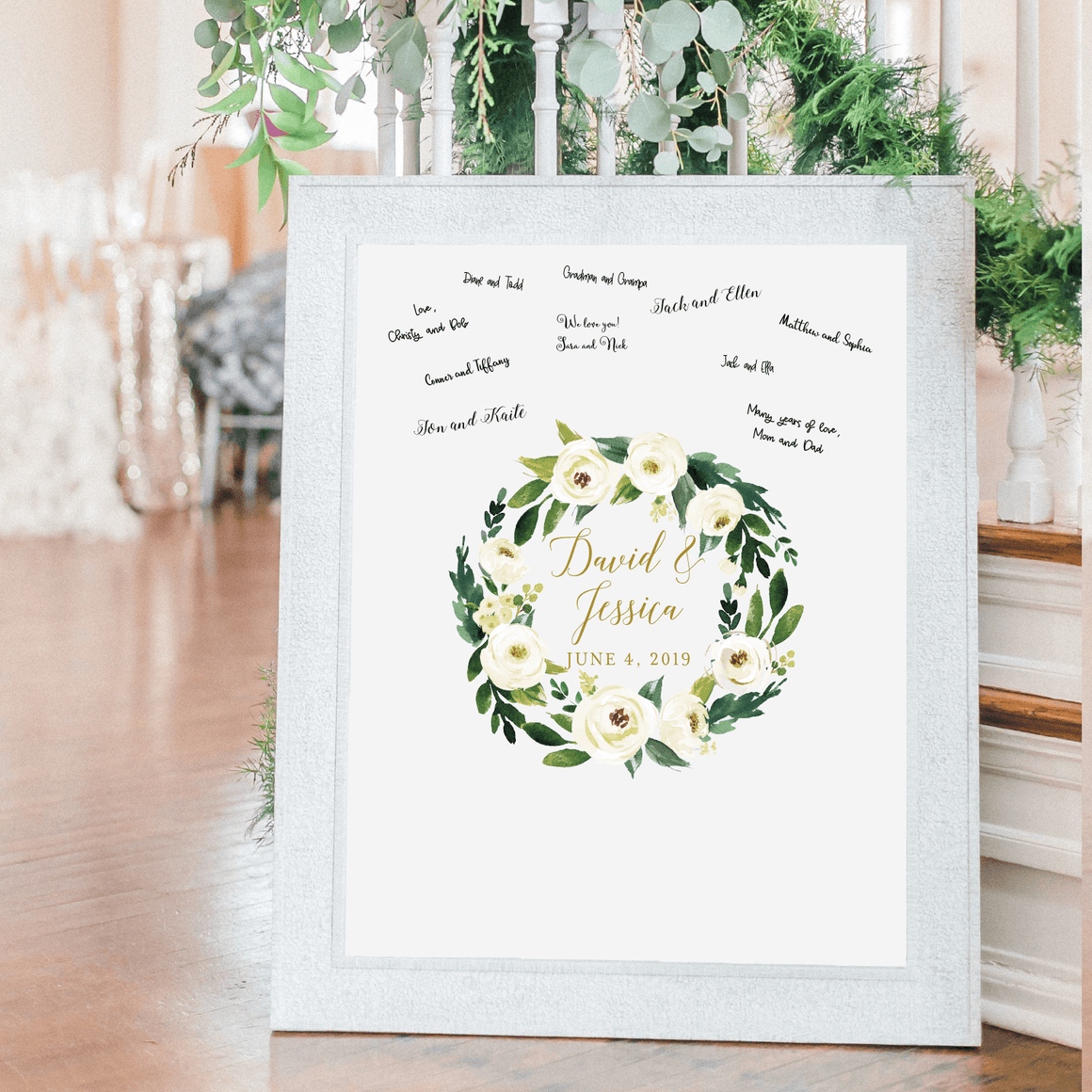 Welcome Prints - Winter White Floral Personalized Guestbook Print Sign