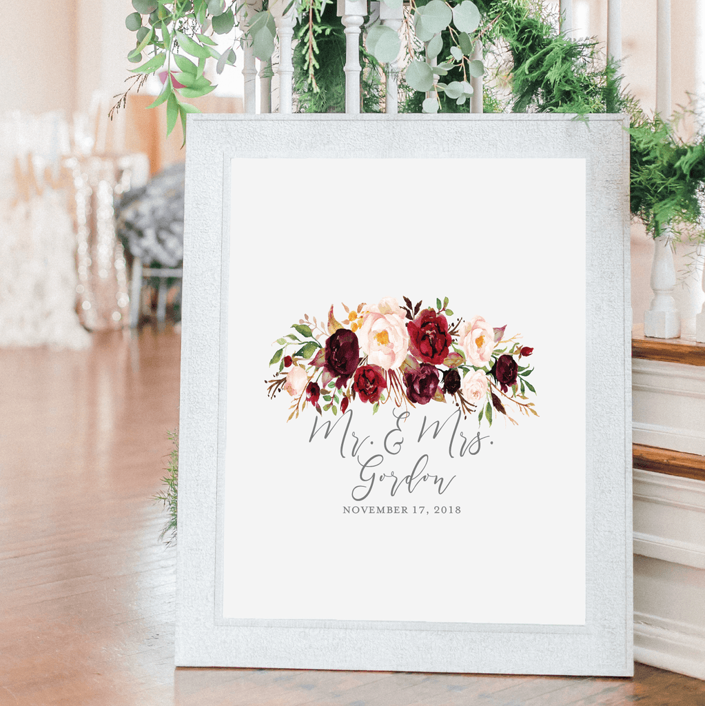 Burgundy Floral Personalized Guestbook Print Sign