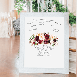 Welcome Prints - Burgundy Floral Personalized Guestbook Print Sign