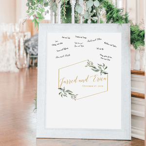 Welcome Prints - Geo Greenery Personalized Guestbook Print Sign