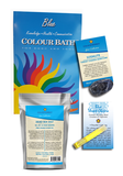 Blue Colour Bath Spa Kit for throat chakra with colour bath, dead sea salts, sodalite, and essential oil sampler.