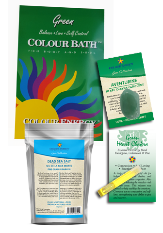 Green Colour Bath Spa Kit with colour bath, green aventurine, dead sea salt, essential oil sampler.
