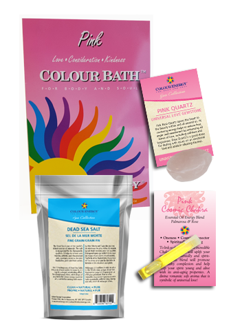 Pink Colour Bath Spa Kit with colour bath, dead sea salt, pink quartz, and essential oil sampler.