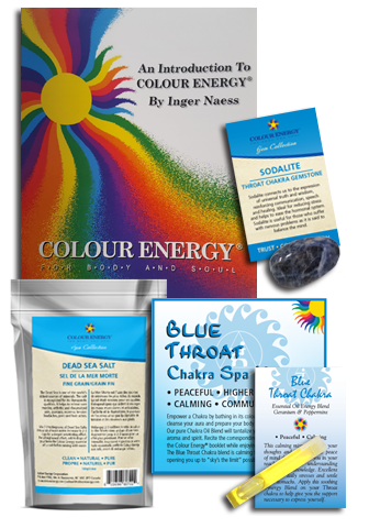 Blue chakra spa kit with dead sea salts, sodalite, and chakra blend sampler.