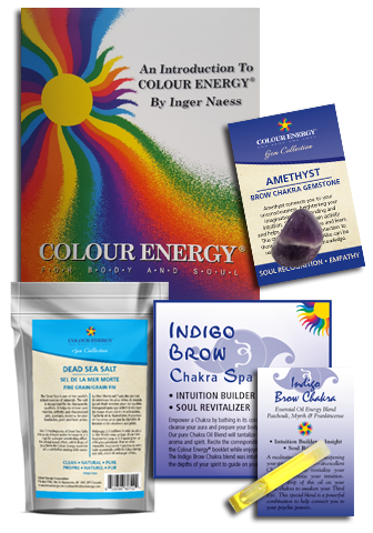 Indigo Chakra Spa Kit with dead sea salt, amethyst, and essential oil sampler.